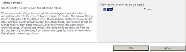 sharepoint online list rating settings missing