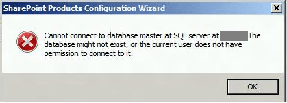 Cannot connect to database master at sql server SharePoint