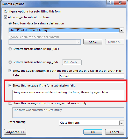 Change default infopath 2010 form submission error message sharepoint 2010