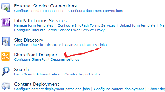 Control SharePoint Designer from Central Administration