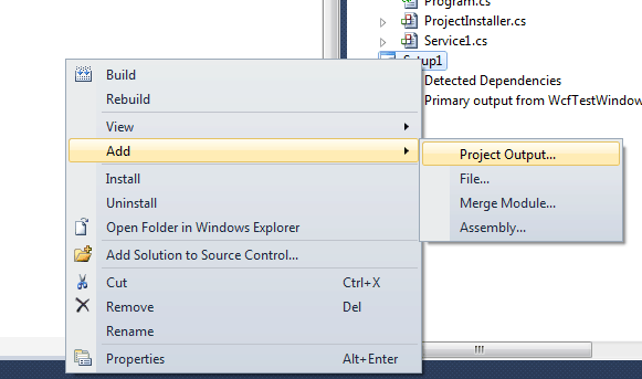 Create and host wcf service as windows service