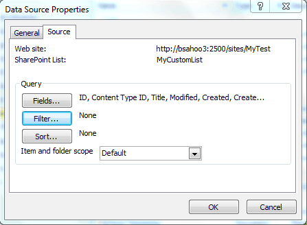 Create a data source in SharePoint 2010  designer