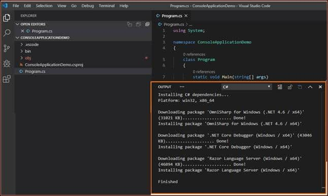 Debug console application in visual studio code