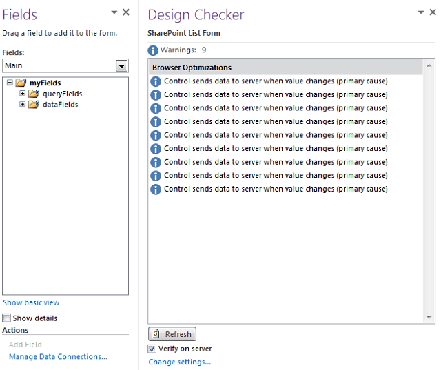 Design checker in InfoPath 2010 sharepoint
