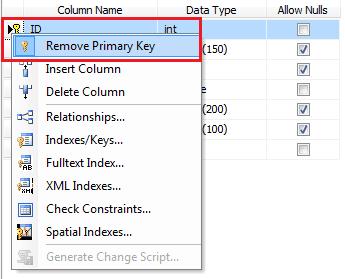 Drop Primary Key Constraint in sql server