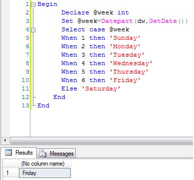 Get weekday name in sql server