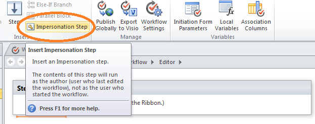 Impersonation step in SharePoint designer 2010 workflow