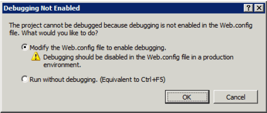 Modify web.config for debugging support in SharePoint