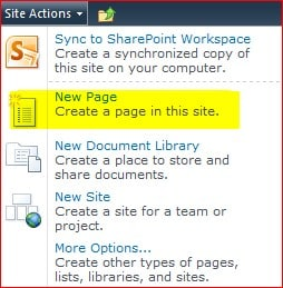 New Page option missing in SharePoint 2010