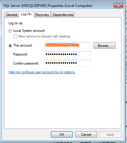 The service did not start due to logon failure in sql server