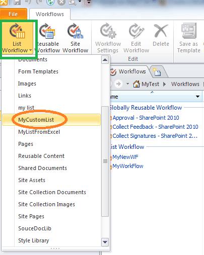 create a list workflow in sharepoint designer 2010