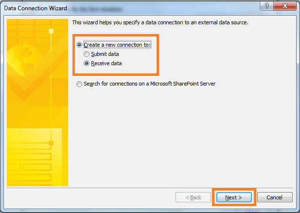 create data connection in infopath 2013