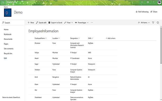 create list view in sharepoint online