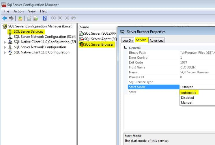 enable remote access for sql server Express