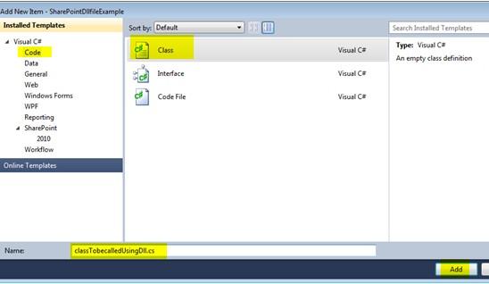 Create dll using Visual Studio 2010 sharepoint