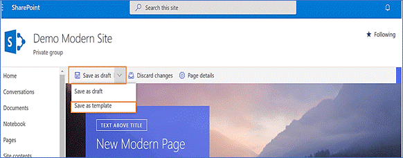 how to create page templates in sharepoint online modern experience