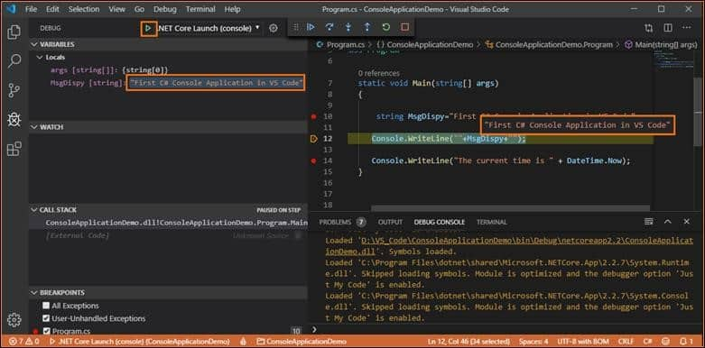 how to debug c# console application using visual studio code