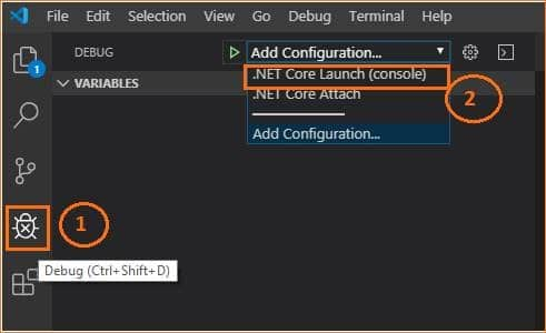 how to debug console application in visual studio code