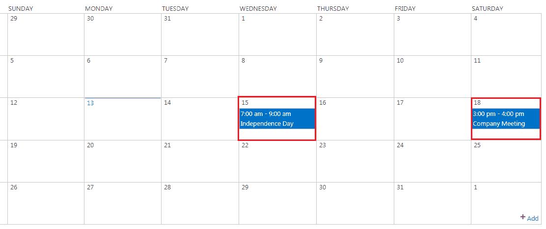 sharepoint online calendar web part