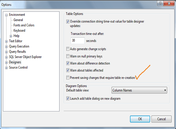 Saving changes is not permitted sql server