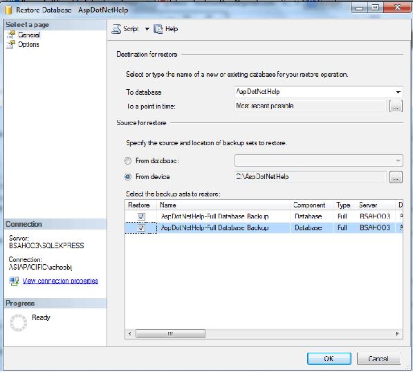 steps to restore database in sql server