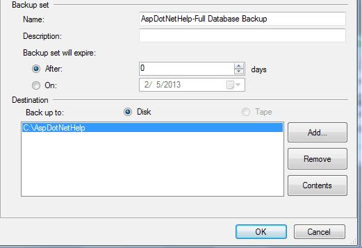 steps to take backup in SQL Server using management studio