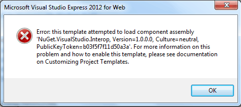 Error: this template attempted to load component assembly NuGet.VisualStudio.Interop in MVC