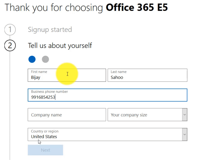 create office 365 e5 trial account