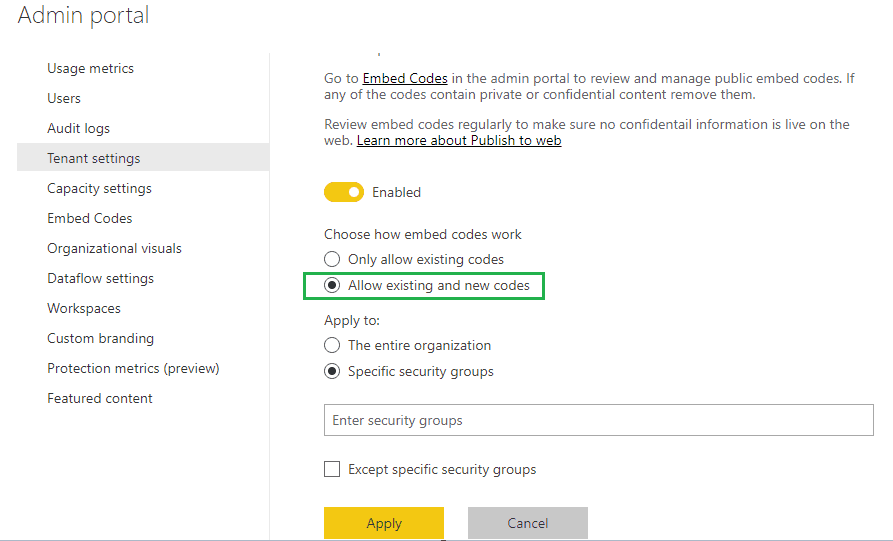 power bi contact your admin to enable embed code creation