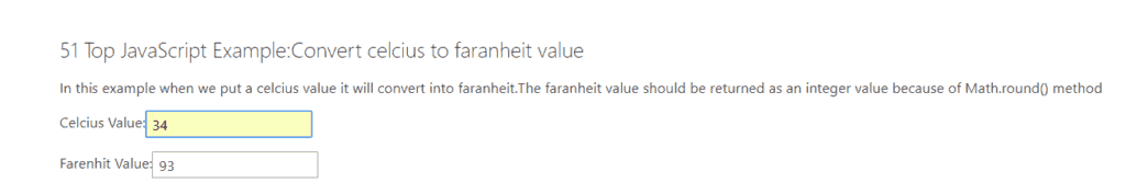 Convert Celcius Value to Faranheit Value in JavaScript