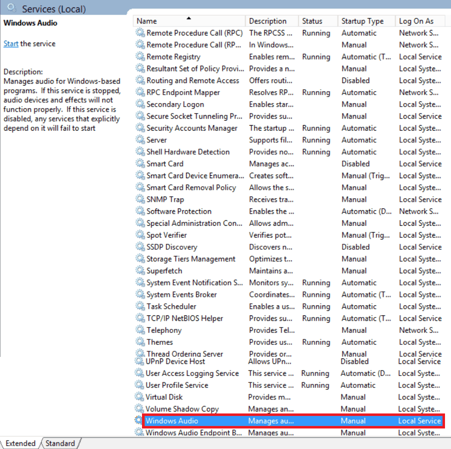How to enable audio service in windows server 2016