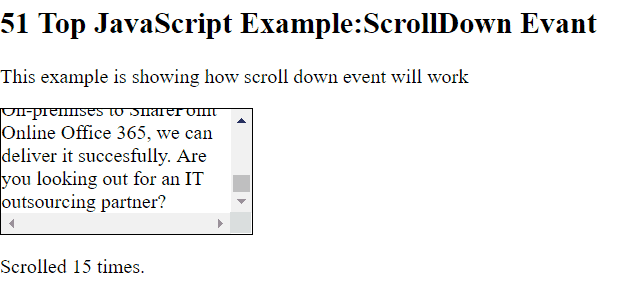 Scroll Down Event in JavaScript