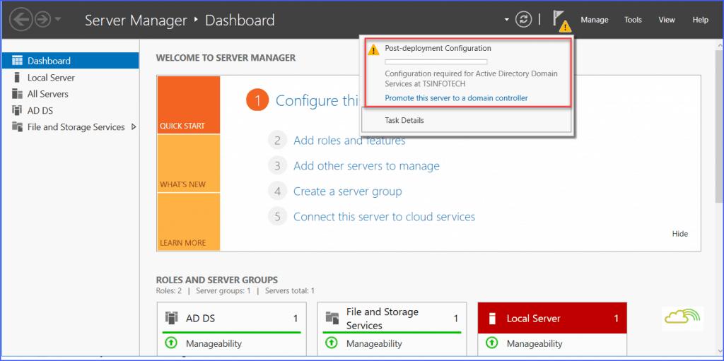 configure active directory domain services windows server 2016