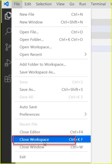 close workspace in visual studio code