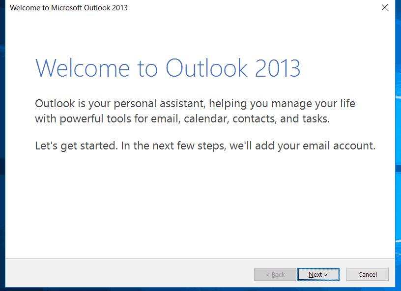 configure email in Outlook 2013