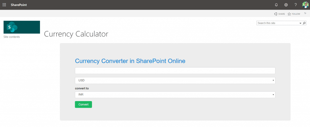 SharePoint Online currency converter using rest api