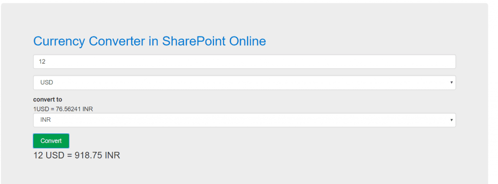 SharePoint Online currency converter using javascript