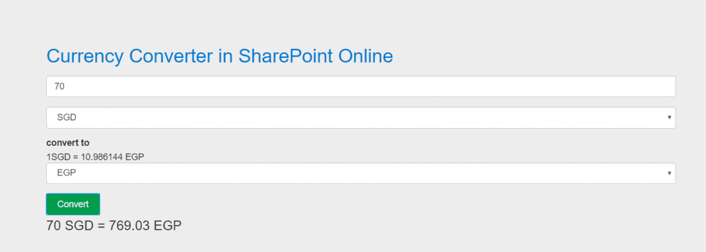 Currency Converter in SharePoint Online using JavaScript and REST API