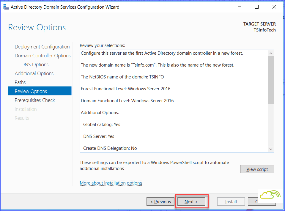 Install and configure windows server 2016 active directory and domain controller