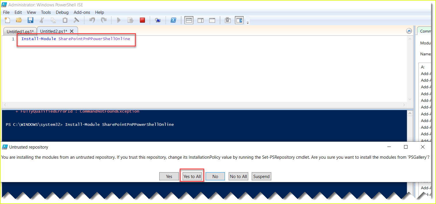 connect-pnponline is not recognized