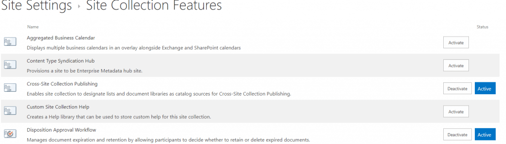 activate site collection features in SharePoint
