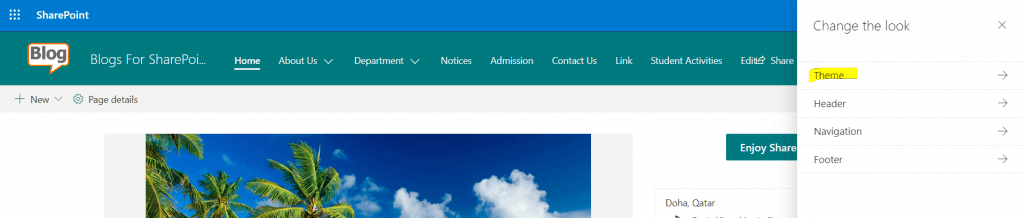 Change Theme Color in SharePoint Online Site