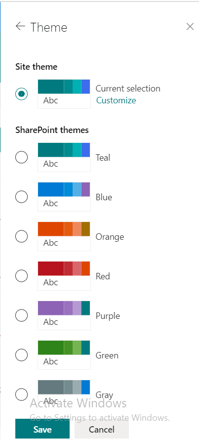 SharePoint site theme