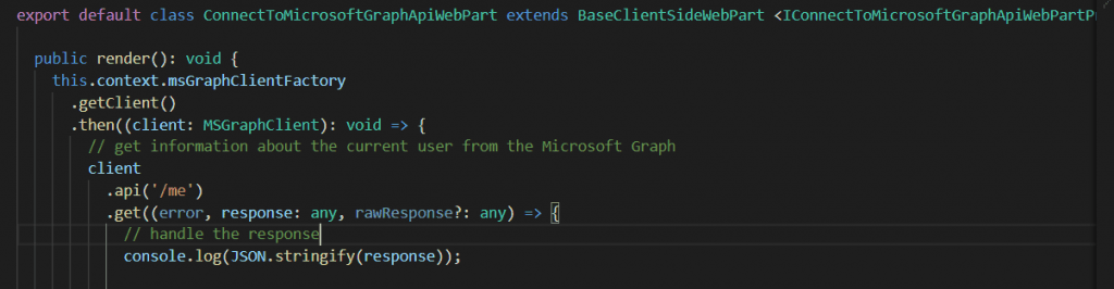consume graph api in sharepoint framework