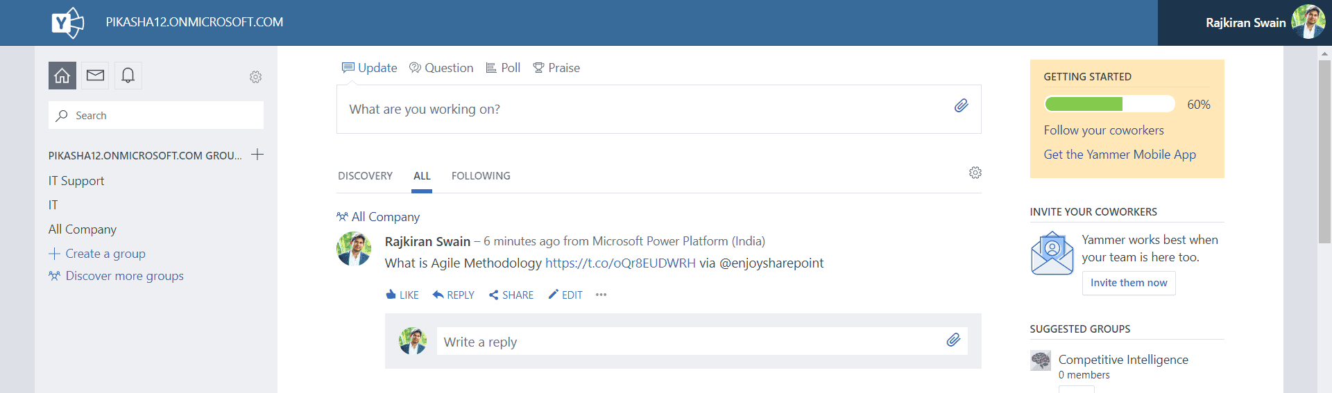 Add my latest Twitter post to Yammer using Power Automate