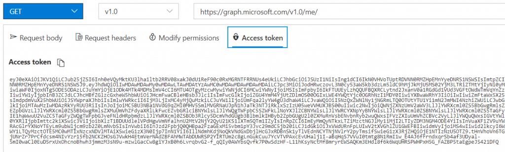 Graph explorer modify access token