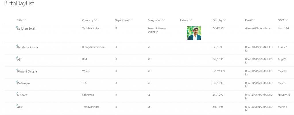 create a birthday view using SharePoint Online modern list view customization