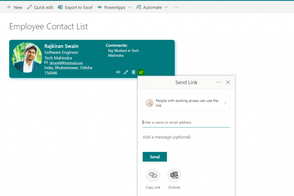 Create user profile card using SharePoint Online modern list view