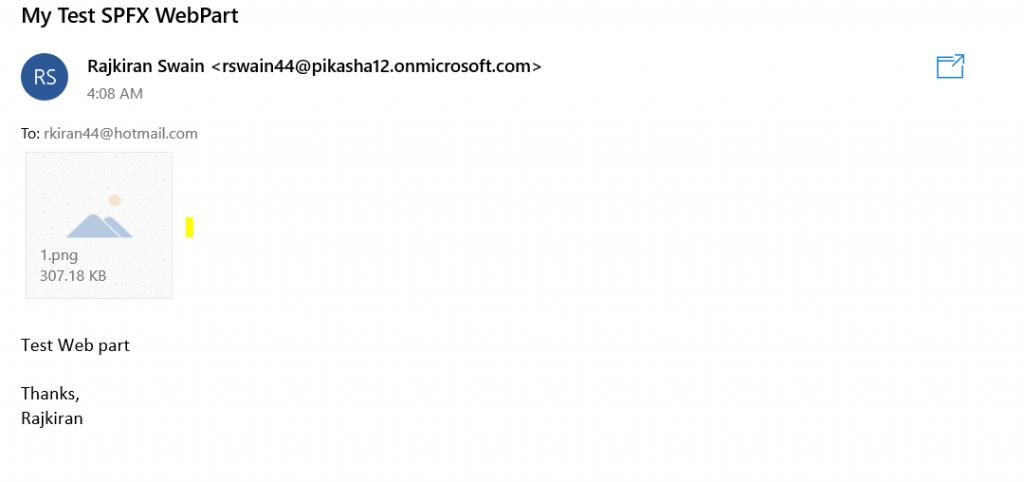 send email using graph api spfx