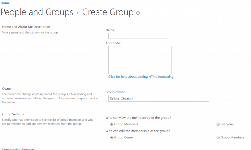 Create A Group in SharePoint Online
